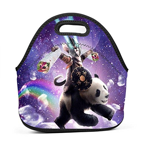 (Lazer Warrior Cat Riding Panda Lunch Bag Waterproof Tote Bag with Zipper for Kids, Students and Adults)