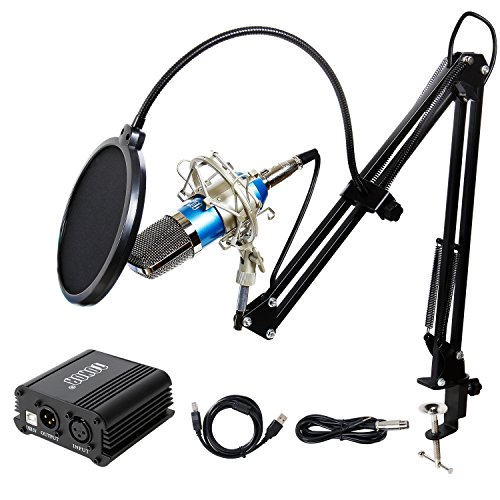 TONOR Pro Condenser Microphone XLR to 3.5mm Podcasting Studio Recording Condenser Microphone Kit Computer Mics with 48V Phantom Power Supply Gold Diaphragm Studio Condenser Microphone