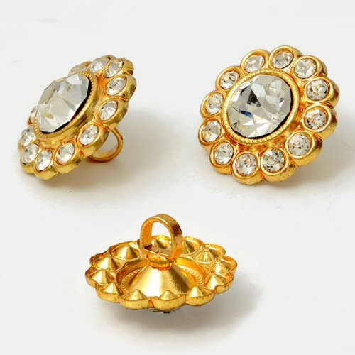 5/8' Gold Shank Button (16mm Crystal Rhinestone Button with Shank by each, Gold ROI-RB533)