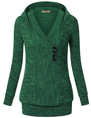 Hoodies for Women,Miusey Long Sleeves V Neck Vintage Sweater Pullover Ribbed Knit Sweatshirt Hoodies Casual Top Green Medium