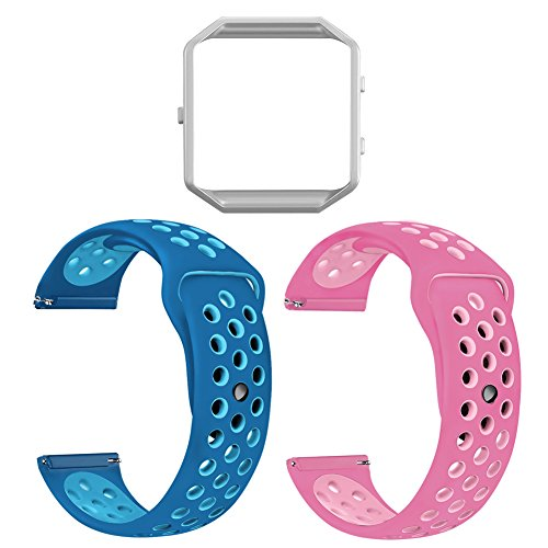 UMAXGET For Fitbit Blaze Bands, Soft Silicone Sport Wristband Breathable Replacement Strap with Silver Frame for Fitbit Blaze Smart Watch Pack 2 Fushia-pink&orbit blue-gamma blue Large