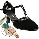 Women's Ballroom Dance Shoes Tango Wedding Salsa Dance Shoes Black Nubuck 9627EB Comfortable - Very Fine 2.5'' Heel 8 M US [Bundle of 5]