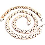Charming 10mm Silver&Rose Gold Stainless Steel Byzantine Men Necklace&Bracelet Jewelry Set