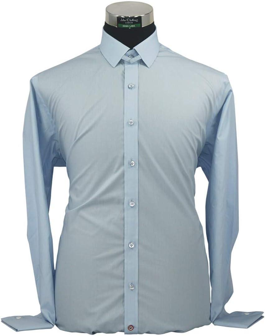 WhitePilotShirts Hombre Tab Cuello de Camisa Azul Cielo Liso ...