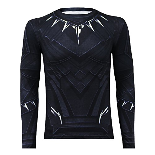 IFSONG Long Sleeves Black Panther Shirt - Perfect Long Sleeves Anime Cosplay Costume For Cosplay Theme Activities,Halloween, Concerts, Theme Parties and Dating (Large)