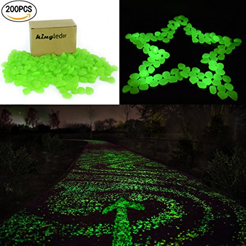 kingleder 200pieces Green Glow in the Dark Garden Stone Pebbles Gravel for Walkways Yard Fish Tank Aquarium Decor (200, Green)