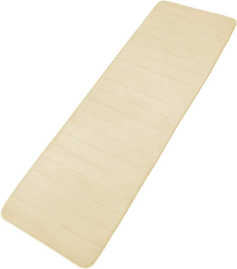 uxcell Memory Foam Non-Slip Bath Mat Soft Bathroom Floor Rugs Washable and Quick Drying Absorbent Rubber Back Runner Area Rug for Kitchen and Bathroom Beige 24