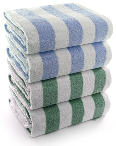 and Pool Towel, Cabana Stripe, 100% Turkish Cotton (30x60 inches, Set of 4, Green + Blue) (Ringspun Terry Robe)