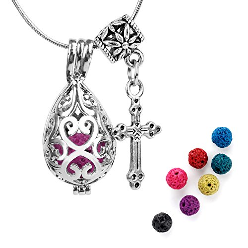 ALUCKY Water Droplets+Cross Aromatherapy Essential Oil Diffuser Necklace Locket Pendant with Adjustable Stainless Steel Snake Chain and 7 Lava Stones