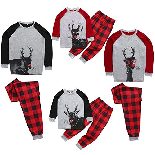 Family Matching Plaid Holiday Boys Deer Print PJ Sets Men Women Boy Girl Kids Christmas Family Nightwear Pajamas Set (3Years-8Years) (The Boy In The Striped Pyjamas Out With)