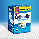 "Cottonelle Value Pack Flushable Wipes, Wavy Clean Ripple Texture, 7.25"" x 5.0"" Ea, 10 Pk - 56 Ct, Total 560 Wipes"