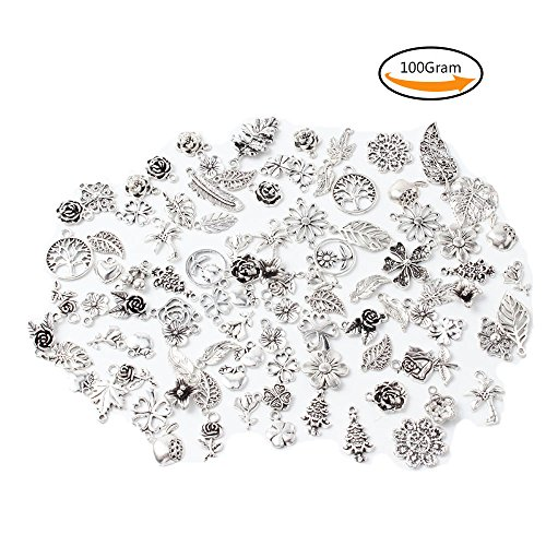 Teenitor 100 Gram Mixed Shape Stem Leaves Four Foliage Flowers Fruit Cake Ice Theme Assorted Antique Charms Pendant for Crafting, Jewelry Making Accessory - Silver