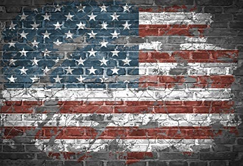6x5ft Faded American Flag Backdrop Vinyl Grunge Brick Wall Backgroud July 4th USA Independence Day Celebration Banners Patriotic Holidays National Day Activity Phtobooth Props