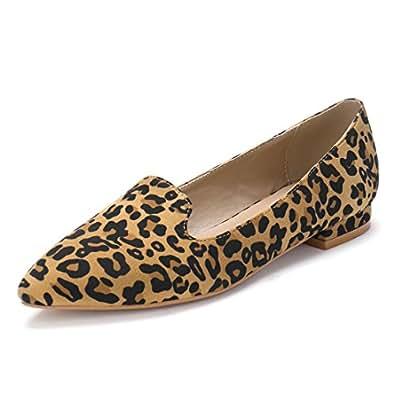 Allegra K HFP-3 Ladies Leopard Prints Slip On Pointed Toe Loafer Flats Brown/US 10