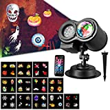 TWFRIC 2 in 1 Projector Light for Hoilday, 12 Slide Patterns Projector Lights Remote Control Colorful Light Flowing Water Ripple Effects for Xmas Birthday Valentine's Day Parties Outdoor Indoor Use