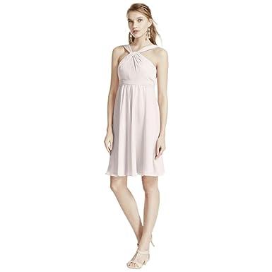 2af6c750e1 David s Bridal Short Crinkle Chiffon Bridesmaid Dress with Halter Style  F15600
