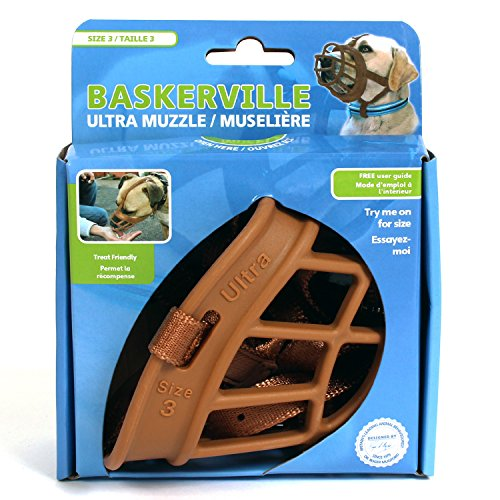 Image of Baskerville Ultra Basket Dog Muzzle – The Company of Animals - Adjustable and Comfortable Secure Fit - Durable Lightweight Rubber - Stops Biting, safe retraining of aggressive dogs- Size-3 Tan