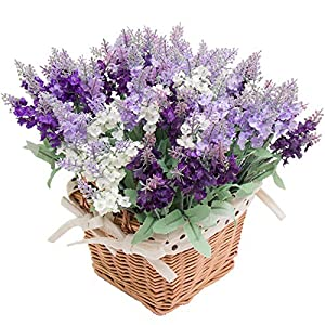 Wootkey 12 Pack Artificial Flower Mixed Color Lavender 4 Bundle Arrangement for Wedding Bouquet Silk Fake Faux Flowers with Greenery Leaves Stems Table Centerpiece Ideas DIY Home Decor Party 1