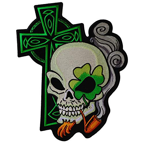 Irish Skull Cross Smoking Pipe Large Back Patch - 9x10.5 inch. Embroidered Iron on Patch