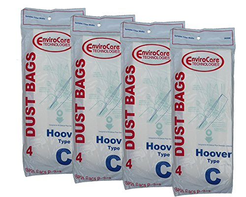 16 Hoover Type C Vacuum Bags for Convertible Upright, Bottom Fill Convertible, Lightweight, O/S Vacuum Cleaners, 43651-050, 43651050, 4010003C, 4010077C, 1340, 1350, 1351, 13560, 1370, 1372, 13290, 1391, 2552, 2552B, 2650, 2651