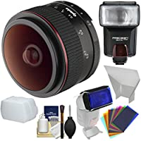 Opteka 6.5mm f/2 HD MF Prime Fisheye Lens with Flash + Diffusers + Color Gels Kit for Olympus OM-D, PEN & Panasonic LUMIX Micro 4/3 Digital Cameras