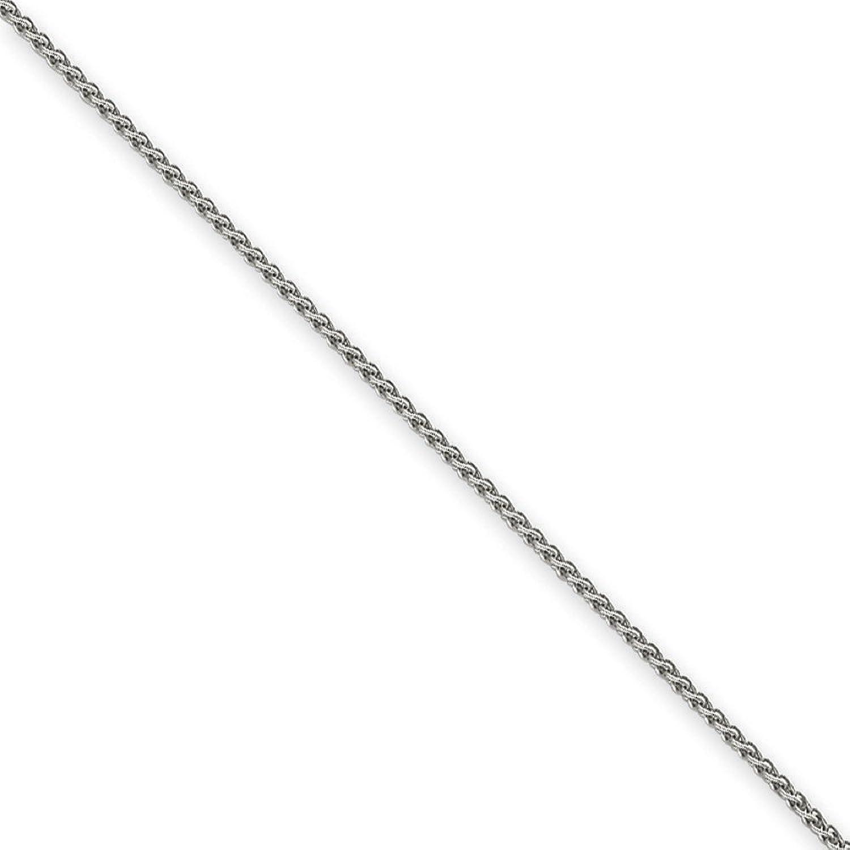 14K White Gold 1.65MM Spiga (Wheat) Link Anklet Bracelet