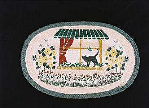 """Capitol Importing Earth Rugs-CAT IN A WINDOW BOX 20"""" by 30"""" Oval Braided Rug"""