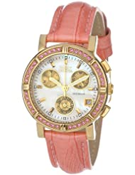 Invicta Womens 10317 Wildflower Chronograph White Mother-Of-Pearl Dial Crystal Accented Pink Leather Watch