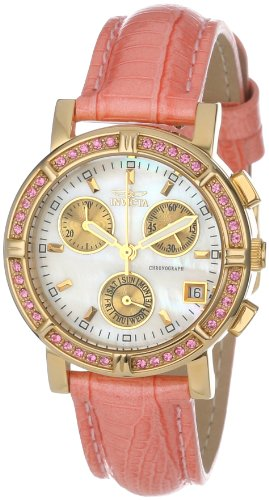 Invicta Women's 10317 Wildflower Chronograph White Mother-Of-Pearl Dial Crystal Accented Pink Leather Watch - White Mother Of Pearl Chronograph