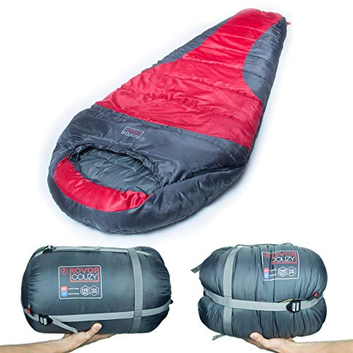 Rovor Couzy 40 Degree Mummy Sleeping Bag with Included Stuff Sack | the Couzy Sleeping Bags for Adults have a 40 Degree Comfort Rating Which Allows for Multi-Season Use by Rovor