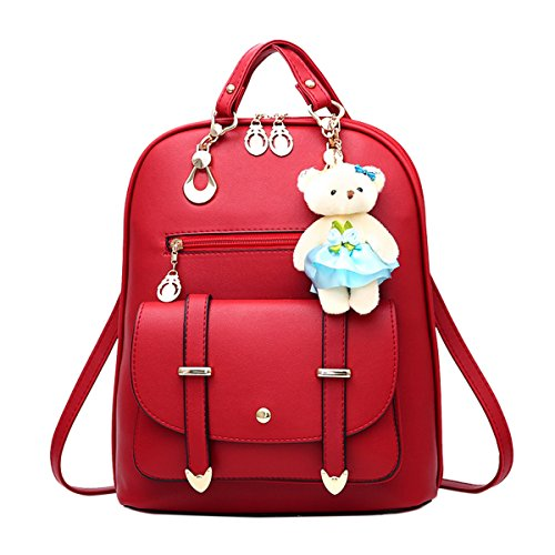 Cute Faux Travel School Women's Red Backpack ABage Convertible Purse Wine Leather Backpack 4ntqFXUXS