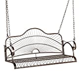 YAHEETECH Metal Hanging Patio Porch Swing Bench