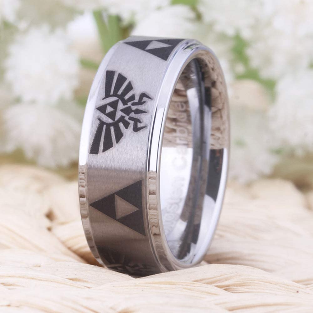 Crest and Triforce Ring Silver Step Tungsten Carbide Wedding Bands Ring Cloud Dancer Free Custom Engraving The Legend of Zelda Ring