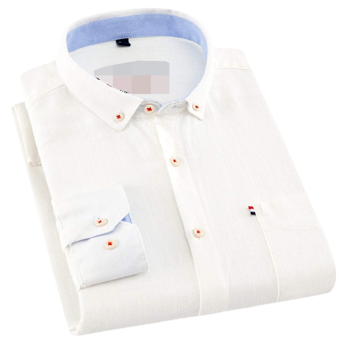 Lutratocro Mens Long-Sleeve All-Match Slim Pure Color Cotton Button Down Shirts