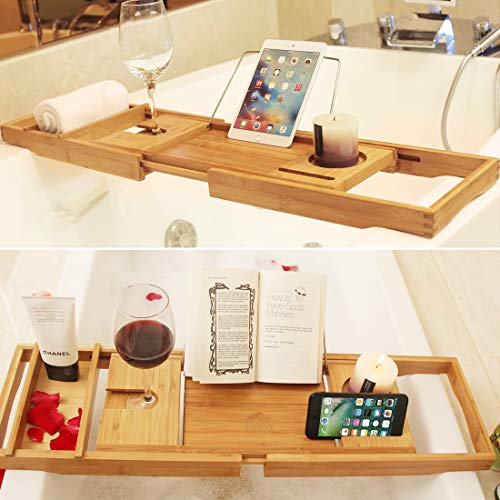 BAMBUROBA Bathtub Caddy Tray Bamboo Bathroom Organizer with Expandable Sides Holder for Book Glass Towel