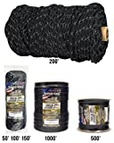 TOUGH-GRID NEW 700lb Double-Reflective Paracord/Parachute Cord - 2 Vibrant Retro-Reflective Strands for the Ultimate High-Visibility Cord - 100% Nylon - Made In USA. - 200Ft. Black Reflective