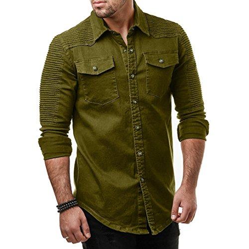 Yuxikong Mens' Coat,Casual Slim Fit Button Shirt with Pocket Long Sleeve Tops Blouse (Green, XL) by Yuxikong (Image #1)