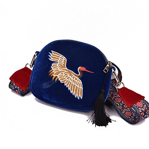 Ourbag Woman Fashion Embroidered Red Crown Crane Bag Cross Body Bag ¨|tnico Style Single Shoulder Bag Blue
