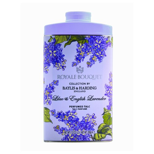 Baylis and Harding Royale Bouquet Royale Bouquet Lilac and English Lavender Tinned Talc 200g Baylis & Harding RBLVTALC