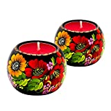 UA Creations Wooden Tea Light Candle Holder Set of 2 Ethnic Design Home Décor Accent Gift for Table or Fireplace, Wedding or Restaurant, Red and Yellow Flowers on Black, Lacquered