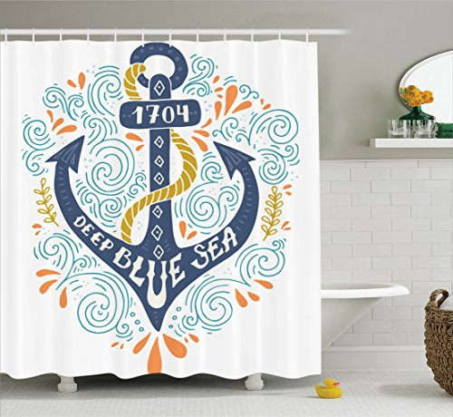 Ambesonne Nautical Decor Collection, Colorful Anchor Letterers Deep Blue Sea Marine Design Ship Nautical Decorative Image, Polyester Fabric Bathroom Shower Curtain Set, 75 Inches Long, Mustard Salmon