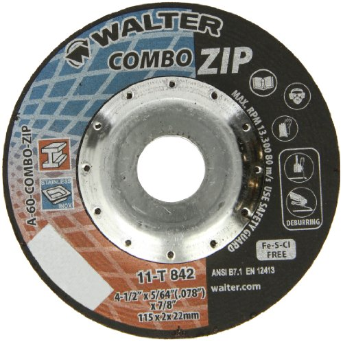 Walter Combo ZIP High Performance Cutoff Wheel, Type 27, Round Hole, Aluminum Oxide, 4-1/2