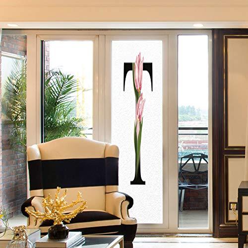 YOLIYANA Waterproof Window Film,Letter T,for Bedroom Living Room Kitchen,Spring Garden Alphabet Font Types Soft Pink Tulip,24''x78''