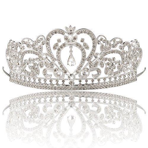 Bienna Wedding Tiara Crown Sparkly Rhinestones Decor Bridal Headpiece for Prom -