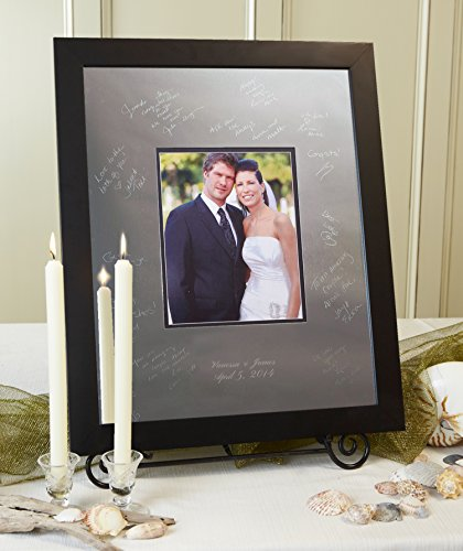 Signature Keepsakes Frame Engravable Signature Mat Guest Book, Large, Silver/Black (Signature Keepsake Platter)