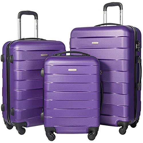 Merax MT Imagine TSA Luggage Set 3 Piece Spinner Suitcase (Purple)
