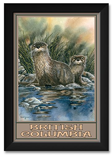 (Northwest Art Mall Otters in British Columbia Canada Framed Art Print by Dave Bartholet. Print Size: 12