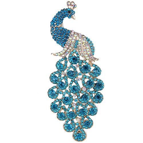 - EVER FAITH Austrian Crystal Elegant Peacock Bird Animal Brooch Blue Turquoise Color Gold-Tone
