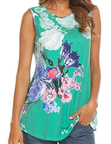 Green Sleeveless Cotton Shirt (Tobrief Women Sleeveless Floral Print Swing Tunic Tank Tops (Green, XXL))