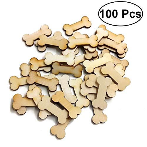kjkjere Wooden Dog Ornaments 100pcs Dog Bone Wood Slices Wedding Mas Ornaments for Wood Craft and Diyornament Shaped Wood Mas ()